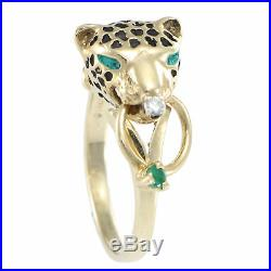 Panther Leopard Ring Emerald Diamond Ring Charm 14k Yellow Gold Vintage Estate