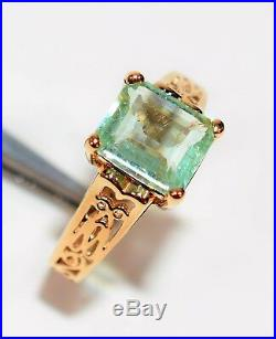 Paraiba Tourmaline 2ct 14kt Yellow Gold Antique Solitaire Women's Ring