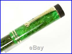 Parker Duofold Jr Lucky Curve Fountain Pen In Marbled Green With 14k Gn/trim