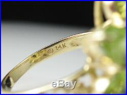 Peridot Ring 14K Yellow Gold Oval Green Fine Jewlery Cocktail Cluster Size 7