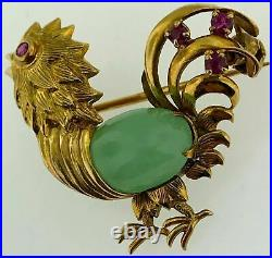 Phenomenal 14Kt Yellow GoldDetailed Rooster Brooch PinFine Jade+Ruby Stones