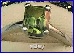Platinum Ring Hand Made by Coppins with a 1.66ct Green Sapphire Very fine Size M