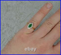 Quality 18 Carat Gold Marquise Emerald and Vs Diamond Cluster Ring