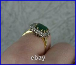 Quality Emerald & Vs 1.00ct Diamond 18ct Gold Cluster Ring