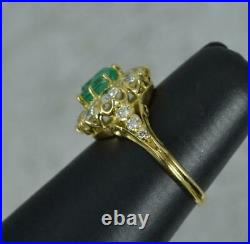 Quality Emerald and 1.00ct Vs Diamond 18ct Gold Cluster Ring