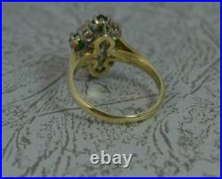 Quality Vs 0.8ct Diamond & Emerald 14ct Gold Cluster Ring d0353