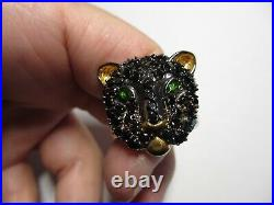 Rare Huge Michael Valitutti Sterling Black Spinel&chrome Diopside Panther Ring