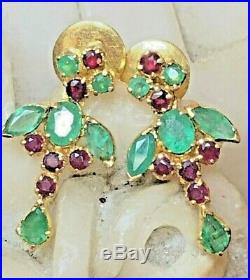 Rare Vintage Estate 22k Yellow Gold Earrings Natural Emerald & Ruby Signed Kdm
