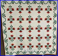 Red Green! C 1880s Carolina Lily APPLIQUE Quilt Fine Quilting NEVER used