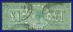 SG 212 £1 green. Fine used, lightly placed registered ovals. Good colour &