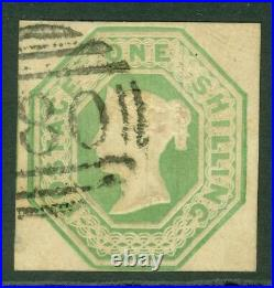 SG 54 1/- pale green. Very fine used part numeral. 4 margins CAT £1000