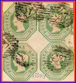 SG. 54. H1 (1). 1/- Pale green. Die 2. A very fine used block of 4