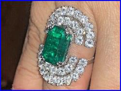 STUNNING 8 carats COLOMBIAN EMERALD GIA F1 GOLD RING COLOMBIA