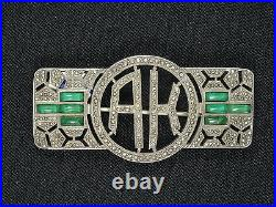 STUNNING ART DECO MARCASITE & EMERALD FRENCH STERLING PIN BROOCH 1 7/8 9.6g