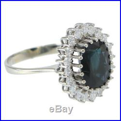 Sapphire Diamond Halo Ring Womens Oval Blue Green Cocktail 14k White Gold 3.50ct