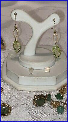 Scrap or Wear 9 Pair 14k Solid Yellow Gold Earrings with Stones 14.26 Grams