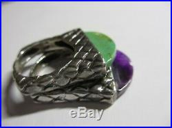 Set Of 2 Gorgeous Dian Malouf Sterling Stack Rings-turquoise & Purple Agate-nr