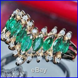 Signed BH vintage Effy 14k yellow gold 1.30ct emerald diamond size 8.5 ring 4.4g
