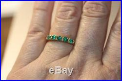 Solid 18K Yellow Gold Green Emerald Band Ring Fine Jewelry Size 7 3.8 grams