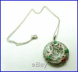 Sterling Silver Fine green Apple Jade with Dragon and Phoenix with Gemstones