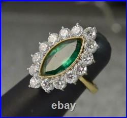 Stunning 18ct Gold 3.00ct Diamond 3.44ct Marquise Emerald Cluster Ring