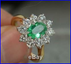 Stunning Classic 18ct Gold Emerald and 1.00ct Diamond Cluster Ring d0546