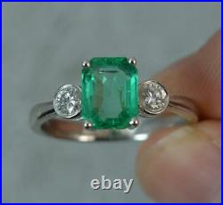 Stunning Colombian Emerald VS Diamond 18ct White Gold Trilogy Ring d0370