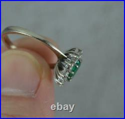 Stunning Colombian Emerald & Vs1 0.5ct Diamond 18ct White Gold Cluster Ring