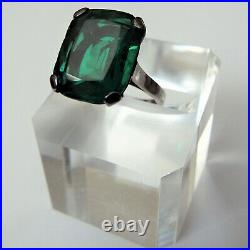 Stunning Emerald Green Paste Vintage FRENCH Sterling Silver Ring
