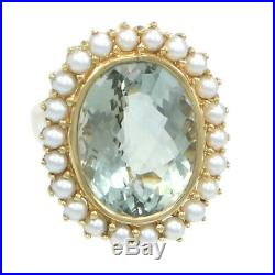 Suzy Levian 16ctw Oval Green Peridot 3mm Pearl Cocktail Ring 14k Yellow Gold