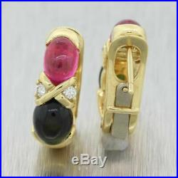 Tiffany & Co. 18K Yellow Gold Pink and Green Tourmaline Earrings