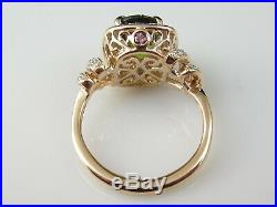 Tourmaline Diamond Ring 14K Rose Gold Halo Oval Green Pink Designer Fine Jewelry