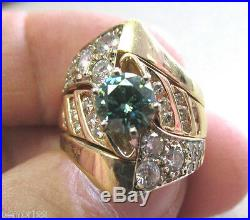 Unique Blue/Green 1.00 ct Moissanite with Natural Diamonds 14k Gold size 6.5