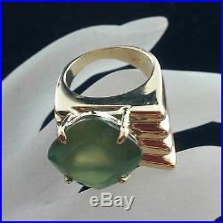 Unusual 1940-50S Retro Modern Period 14k Solid Gold Green Kyanite Solitaire Ring