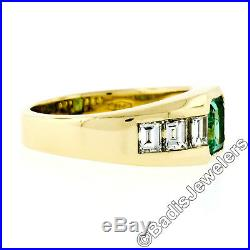 VERY FINE 18k Yellow Gold 1.55ct Colombian Emerald Diamond Low Profile Band Ring