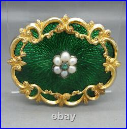 VICTORIAN EMERALD & PEARL GREEN GUILLOCHE ENAMELLED 9CT GOLD BROOCH 5.6CM c1880