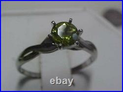 VINTAGEPLATINUM. 85ct GREEN PERIDOT SOLITAIRE PROMISE RING sz9.5 BUY NOW
