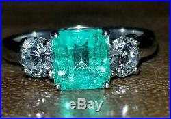 VINTAGE 14K WHITE GOLD ENGAGEMENT RING 1.61CT. Natural green Colombia EMERALD