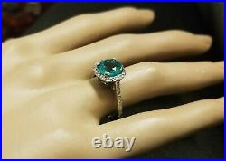 VINTAGE 14K WHITE GOLD ENGAGEMENT RING 2.15CT. Green Colombia EMERALD