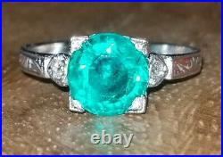 VINTAGE 18K WHITE GOLD RING 1.81CT. ROUND COLOMBIA GREEN EMERALD circ 1920's