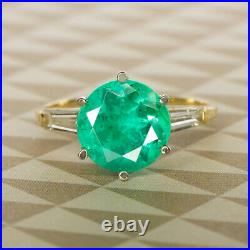 VINTAGE 3ct COLOMBIAN EMERALD DIAMOND RING YELLOW GOLD ROUND CUT NATURAL 2.5ct