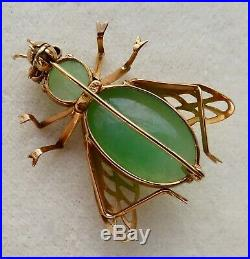 VINTAGE SOLID 14K GOLD APPLE GREEN JADE FLY BUG PIN BROOCH with RUBY EYES