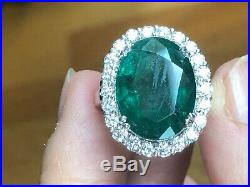 Very large 13 carats EMERALD GIA GOLD RING