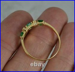 Vibrant Emerald and Diamond 14ct Gold Stack Ring