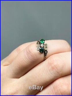 Victorian Antique 10K Green Garnet Seed Pearl Ring Rose Gold Size 5 3/4