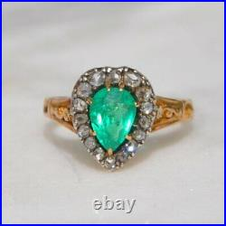 Victorian Certified Colombian Emerald and Diamond Heart Cluster Engagement ring