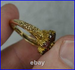 Victorian Design 9ct Gold Peridot and Garnet Flower Cluster Ring