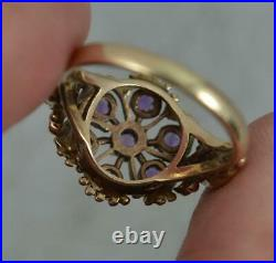 Victorian Design 9ct Gold and Amethyst Flower Pierced Cluster Ring