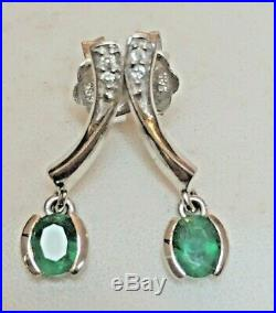 Vintage 14k Gold High Quality Green Emerald Genuine Natural Diamond Earrings