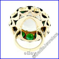 Vintage 14k Gold Large Oval Moonstone Solitaire Round Green Tourmaline Halo Ring